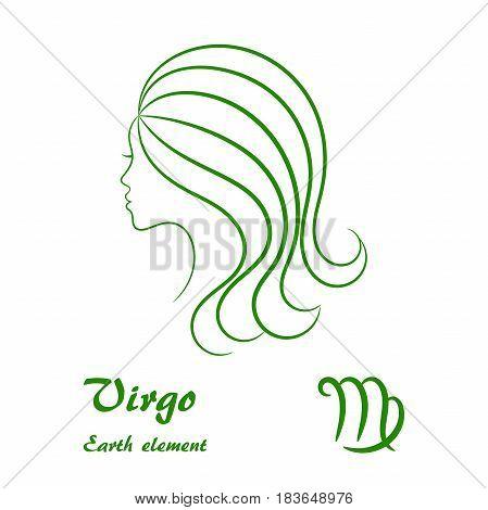Virgo zodiac sign. Stylized female contour profile.
