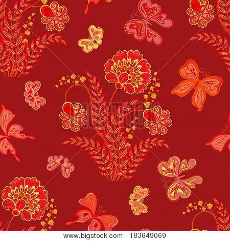 Vector illustration of seamless pattern with abstract flowers. It can be used for web page background, surface textures, textile industry and others. Red yellow on dark red.