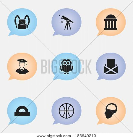 Set Of 9 Editable University Icons. Includes Symbols Such As Courtroom, Night Fowl, Cerebrum And More. Can Be Used For Web, Mobile, UI And Infographic Design.