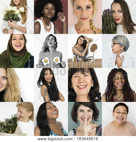 Diverse women activity feminism collection collage