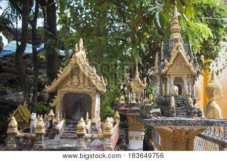 Laos Vientiane Wat Si Muang Spirit House