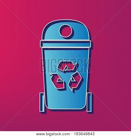 Trashcan sign illustration. Vector. Blue 3d printed icon on magenta background.
