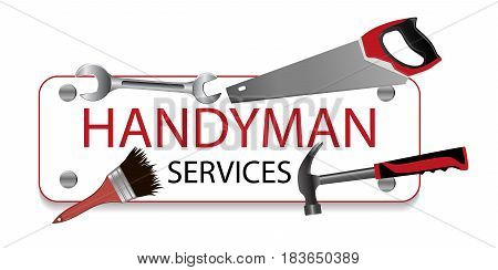 Professional handyman services logo. Hammer brush spanner and saw. A sign nailed. Repair tool. Vector illustration.