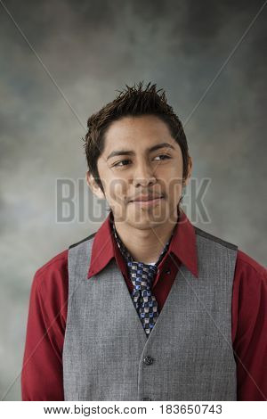 Smiling mixed race teenage boy