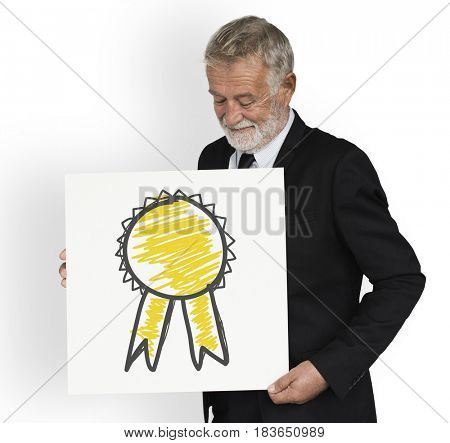 Senior businessman holding badge icon symbol