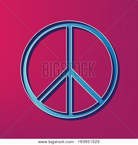 Peace sign illustration. Vector. Blue 3d printed icon on magenta background. poster