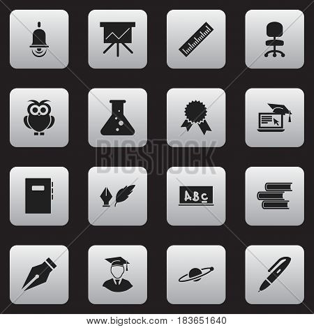 Set Of 16 Editable University Icons. Includes Symbols Such As Distance Learning, Work Seat, School Board And More. Can Be Used For Web, Mobile, UI And Infographic Design.