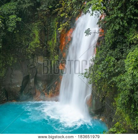 Waterfall on the river of Rio Celeste, Costa Rica