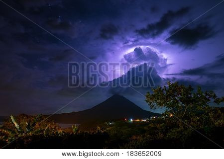 Thunderstorm over the volcano of Arenal. Costa Rica