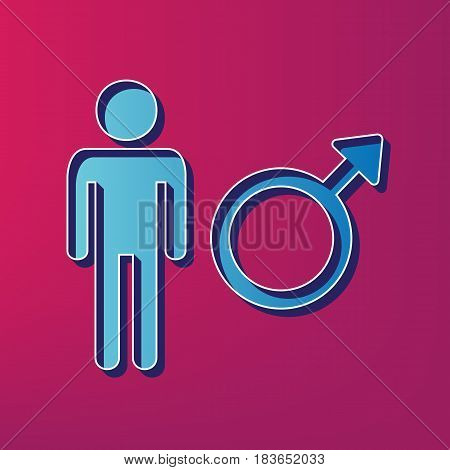 Male sign illustration. Vector. Blue 3d printed icon on magenta background.