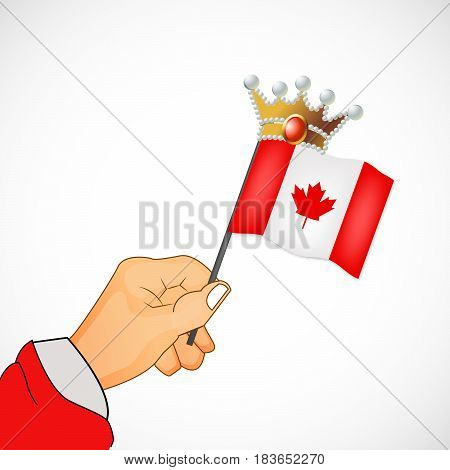 illustration of hand holding canada flag in crown. happy victoria day vector