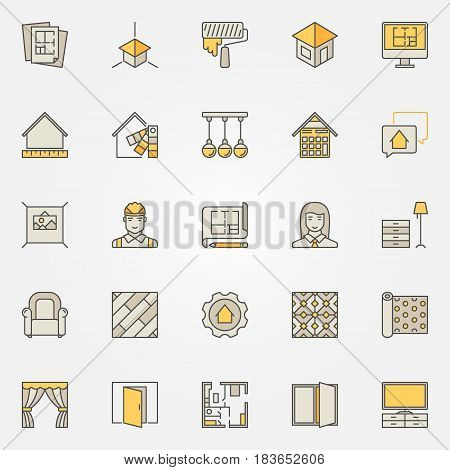 Home interior design colorful icons. Vector set of creative signs for designers and decorators