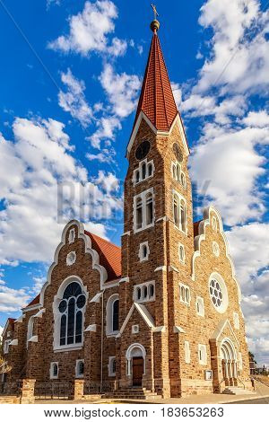 Luteran Christ Church With Blue Sky And Clouds In Background, Windhoek, Namibia