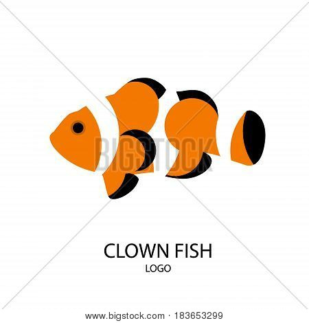 The silhouette of clownfish. Flat design. Vector illustration.