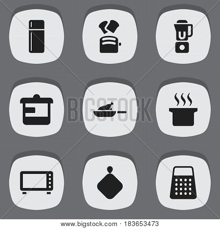Set Of 9 Editable Food Icons. Includes Symbols Such As Soup Pot, Shredder, Oven And More. Can Be Used For Web, Mobile, UI And Infographic Design.