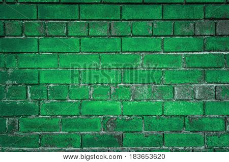 The Green Background Of The Old Bricks.
