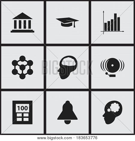Set Of 9 Editable Science Icons. Includes Symbols Such As Museum, Graph, Cerebrum And More. Can Be Used For Web, Mobile, UI And Infographic Design.
