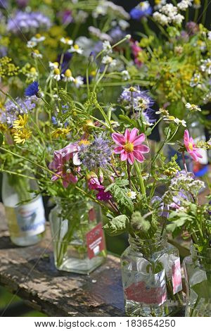 A collection of brightly coloured little summer bouquets put into glass jars perched on top of a wooden table.