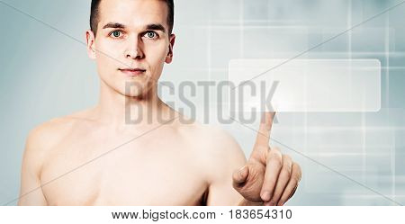 Handsome Man Looking For a Things. Guy and Empty Virtual Display