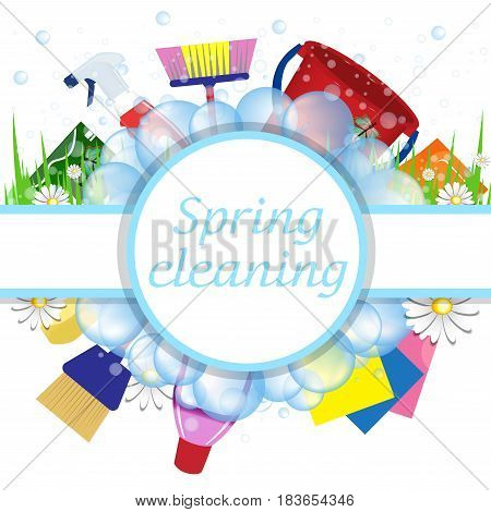 Concept spring cleaning service. Tools for cleanliness and disinfection. Soap bubbles frame. Vector illustration.