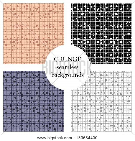 Set Of Seamless Vector Textures. Grunge Checkered Backgrounds With Dots, Attrition, Cracks. Old Styl
