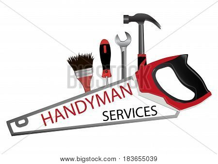 Repair and building logo. Professional handyman services. Saw hammer wrench screwdriver and brush. Vector illustration.