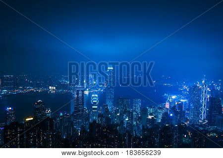 view of victoria harbor in Hong KongChina.