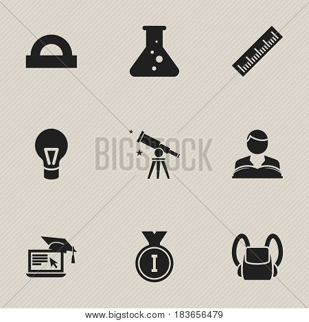 Set Of 9 Editable Graduation Icons. Includes Symbols Such As Straightedge, Semicircle Ruler, Binoculars And More. Can Be Used For Web, Mobile, UI And Infographic Design.