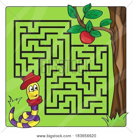 Labyrinth, maze for kids. Entry and exit. Children puzzle game. Help the worm to crawl to apple. Vector illustration