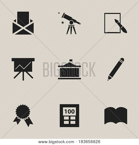 Set Of 9 Editable Graduation Icons. Includes Symbols Such As Chart Board, Univercity, Binoculars And More. Can Be Used For Web, Mobile, UI And Infographic Design.