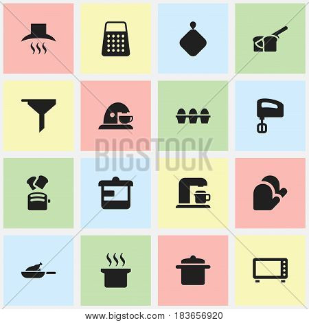 Set Of 16 Editable Food Icons. Includes Symbols Such As Pot-Holder, Kitchen Glove, Cup And More. Can Be Used For Web, Mobile, UI And Infographic Design.
