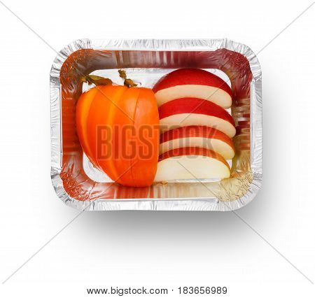 Healthy diet concept. Natural lunch, apples snack isolated. Take away organic food in foil container. Weight loss eating