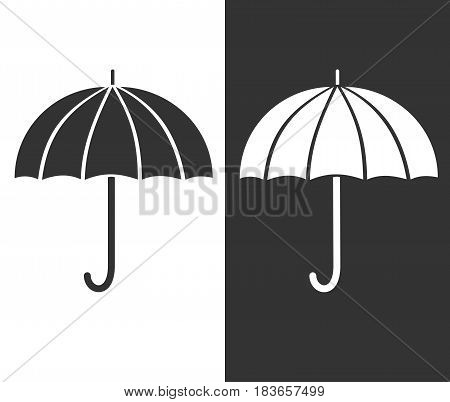 Gray umbrella icon. Silhouette sign of protection. weather and Safety symbol. Black and white
