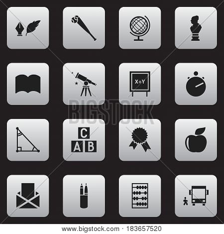 Set Of 16 Editable School Icons. Includes Symbols Such As Fresh Fruit, Arithmetic, Pen Case And More. Can Be Used For Web, Mobile, UI And Infographic Design.