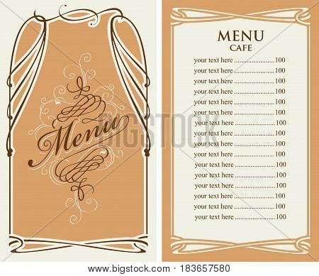 template vector menu for cafe with price list and curlicues with calligraphic inscription in baroque style