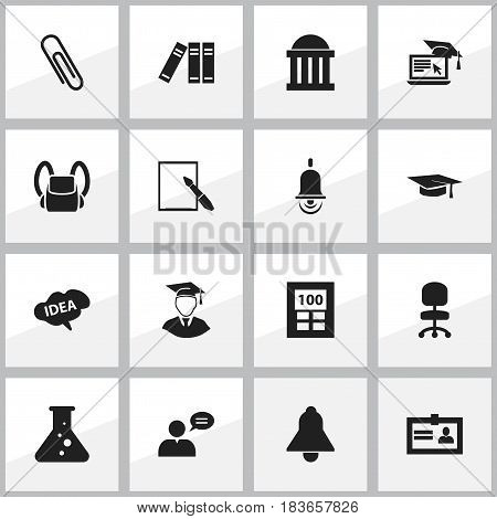 Set Of 16 Editable Graduation Icons. Includes Symbols Such As Staple, Certification, Distance Learning And More. Can Be Used For Web, Mobile, UI And Infographic Design.
