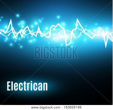 Energy shock effect with many glowing particles. Electric discharge on blue background. Vector illustration