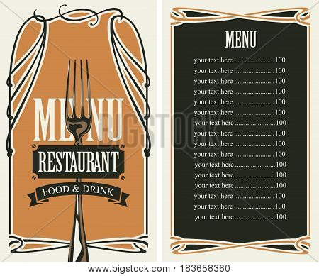 template vector menu for restaurant with price list fork and curlicues in baroque style