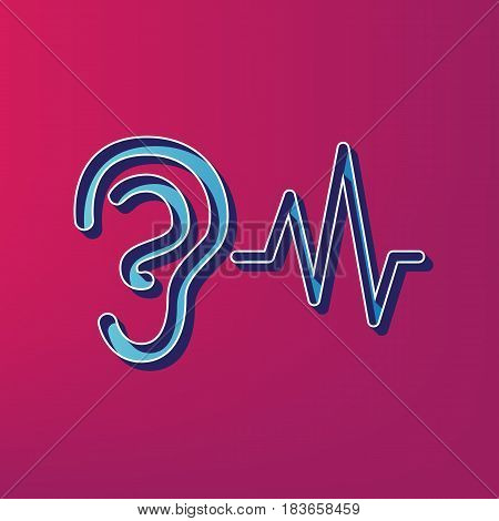 Ear hearing sound sign. Vector. Blue 3d printed icon on magenta background.