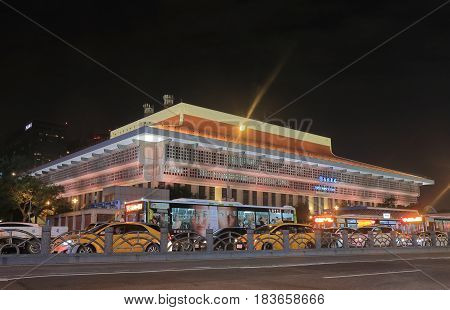 TAIPEI TAIWAN - DECEMBER 5, 2016: Taipei Main Railway Station night cityscape