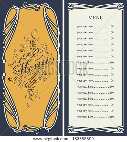template vector menu with price list and curlicues with calligraphic inscription in baroque style
