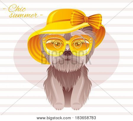 Summer fashion terrier puppy dog in sweet retro clothes, vintage sunglasses, straw hat with bow. Cartoon vector illustration isolated on white background.