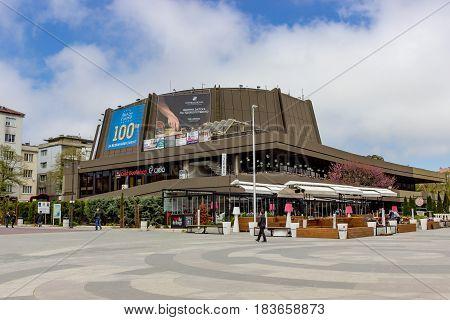 Varna, Bulgaria, April 26, 2017 Festivalniyat and congress center in Varna will open on 16 June 1986.