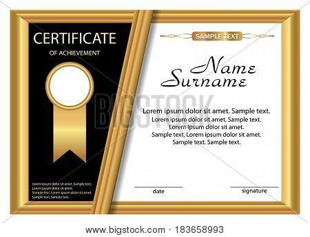 Template certificate of achievement. Gold design. Vector illustration.