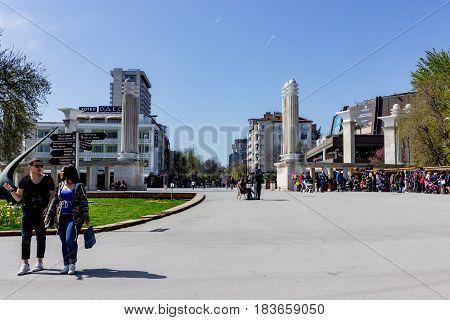 Varna, Bulgaria, April 26, 2017 , Central entrance of the Sea Garden in Varna Bulgaria