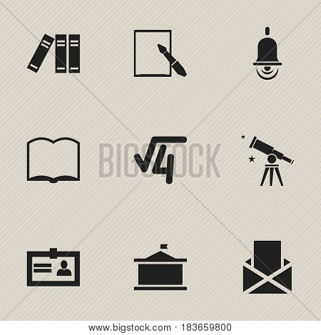 Set Of 9 Editable School Icons. Includes Symbols Such As Binoculars, Notepaper, Math Root And More. Can Be Used For Web, Mobile, UI And Infographic Design.