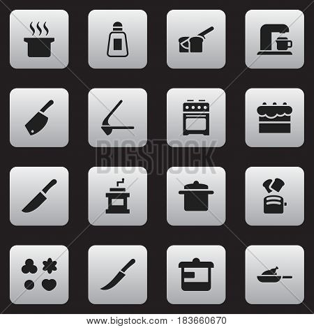 Set Of 16 Editable Meal Icons. Includes Symbols Such As Knife, Slice Bread, Sword And More. Can Be Used For Web, Mobile, UI And Infographic Design.