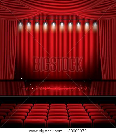 Red Stage Curtain with Spotlights, Seats and Copy Space. Theater, Opera or Cinema Scene. Light on a Floor.