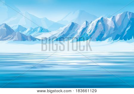 Vector blue snow mountains and water  background.