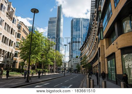 London UK - April 25 2017: Modern skyscrapers in business part of London called London City. View from the London Wall street.